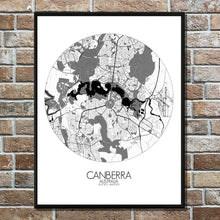 Load image into Gallery viewer, Mapospheres Canberra Black and White round shape design poster city map