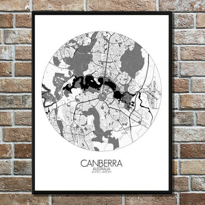 Mapospheres Canberra Black and White round shape design poster city map