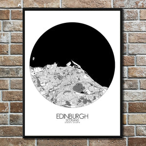 Mapospheres Edinburgh Black and White round shape design poster city map