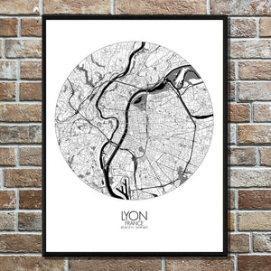 Mapospheres Lyon Black and White round shape design poster city map