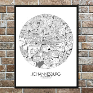 Mapospheres Johannesburg Black and White round shape design poster city map