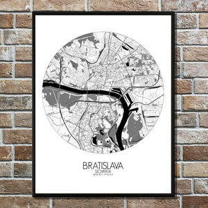 Mapospheres Bratislava Black and White round shape design poster city map