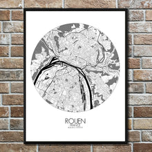Load image into Gallery viewer, Mapospheres Rouen Black and White round shape design poster city map