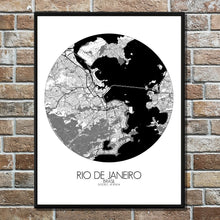 Load image into Gallery viewer, Mapospheres Rio de Janeiro Black and White round shape design poster city map