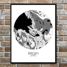 Load image into Gallery viewer, Mapospheres Bergen Black and White round shape design poster city map