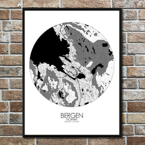 Mapospheres Bergen Black and White round shape design poster city map