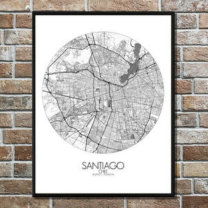 Mapospheres Santiago Black and White round shape design poster city map