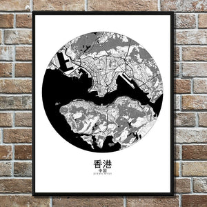 Mapospheres Hong Kong Black and White round shape design poster city map