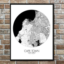 Load image into Gallery viewer, Mapospheres Cape Town Black and White round shape design poster city map