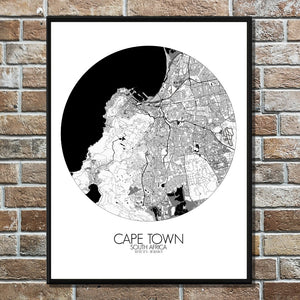 Mapospheres Cape Town Black and White round shape design poster city map