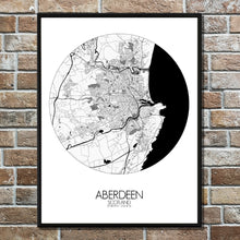 Load image into Gallery viewer, Aberdeen Black and White round shape design poster city map