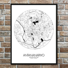 Load image into Gallery viewer, Antananarivo Black and White round shape design poster city map