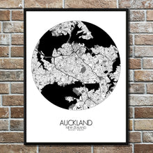 Load image into Gallery viewer, Auckland Black and White round shape design poster city map