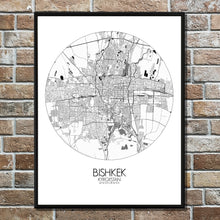 Load image into Gallery viewer, Bishkek Black and White round shape design poster city map