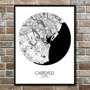 Cardiff Black and White round shape design poster city map