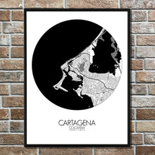 Load image into Gallery viewer, Cartagena Black and White round shape design poster city map