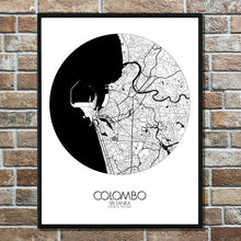 Load image into Gallery viewer, Mapospheres Colombo Black and White round shape design poster city map