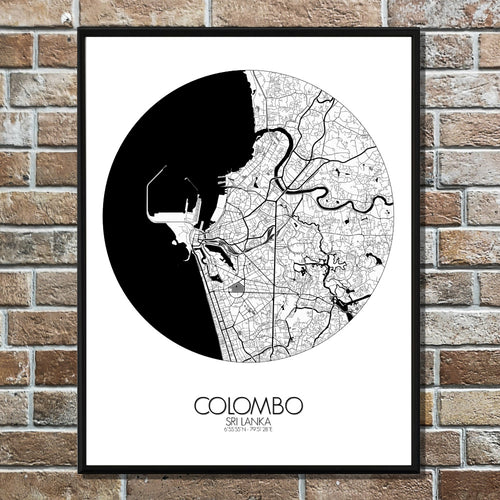 Mapospheres Colombo Black and White round shape design poster city map