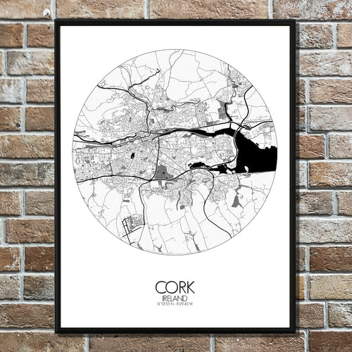 Mapospheres Cork Black and White round shape design poster city map