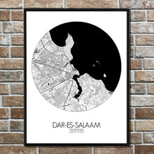 Load image into Gallery viewer, Dar Es Salaam Black and White round shape design poster city map