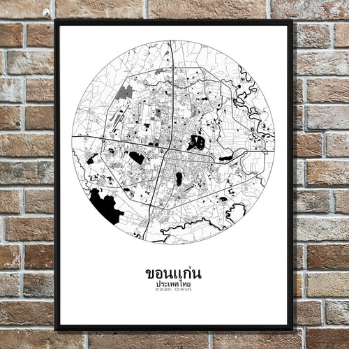 Khonkaen Black and White round shape design poster city map