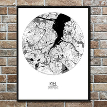 Load image into Gallery viewer, Kiel Black and White round shape design poster city map