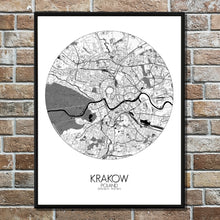 Load image into Gallery viewer, Krakow Black and White round shape design poster city map