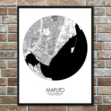 Load image into Gallery viewer, Maputo Black and White round shape design poster city map