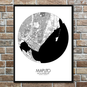 Maputo Black and White round shape design poster city map