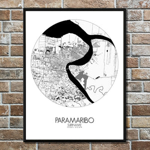 Paramaribo Black and White full page design poster city map