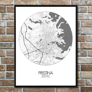 Pristina Black and White round shape design poster city map