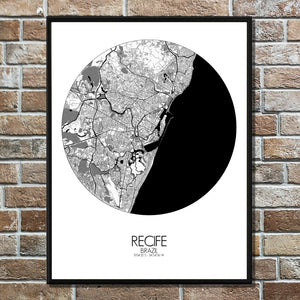 Recife Black and White round shape design poster city map