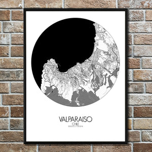 Aberdeen Black and White round shape design poster city map