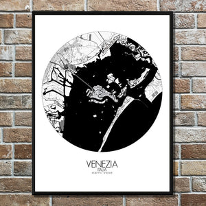 Mapospheres Venice Black and White round shape design poster city map