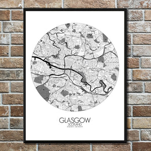 Mapospheres Glasgow Black and White round shape design poster city map