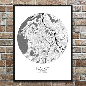 Mapospheres Nancy Black and White round shape design poster city map