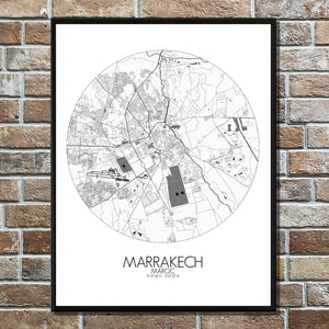 Mapospheres Marrakesh Black and White round shape design poster city map
