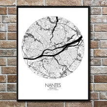 Load image into Gallery viewer, Mapospheres Nantes Black and White round shape design poster city map