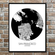 Load image into Gallery viewer, Mapospheres San Francisco Black and White round shape design poster city map