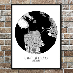 Mapospheres San Francisco Black and White round shape design poster city map
