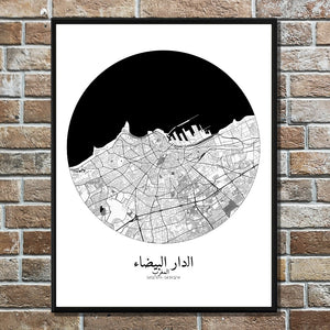 Mapospheres Casablanca Black and White round shape design poster city map