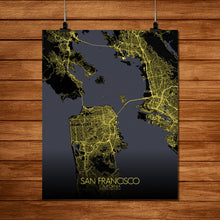 Load image into Gallery viewer, Mapospheres San Francisco Night full page design poster city map