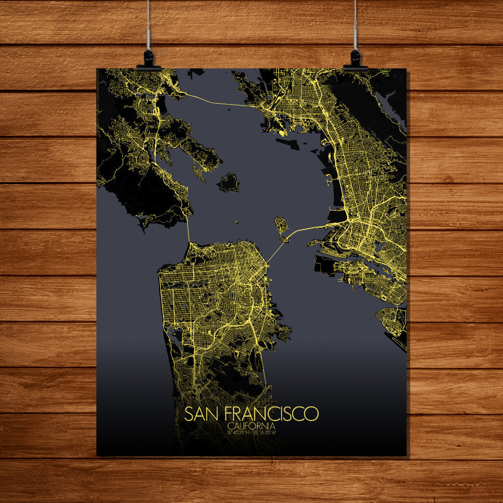 Mapospheres San Francisco Night full page design poster city map