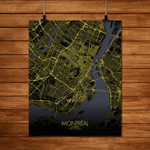 Load image into Gallery viewer, Mapospheres Montreal Night full page design poster city map