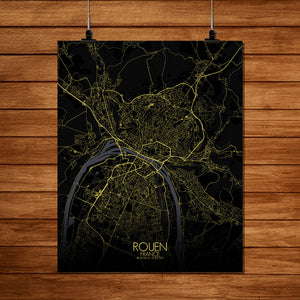 Mapospheres Rouen Night full page design poster city map