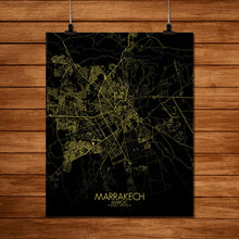 Load image into Gallery viewer, Mapospheres Marrakesh Night full page design poster city map