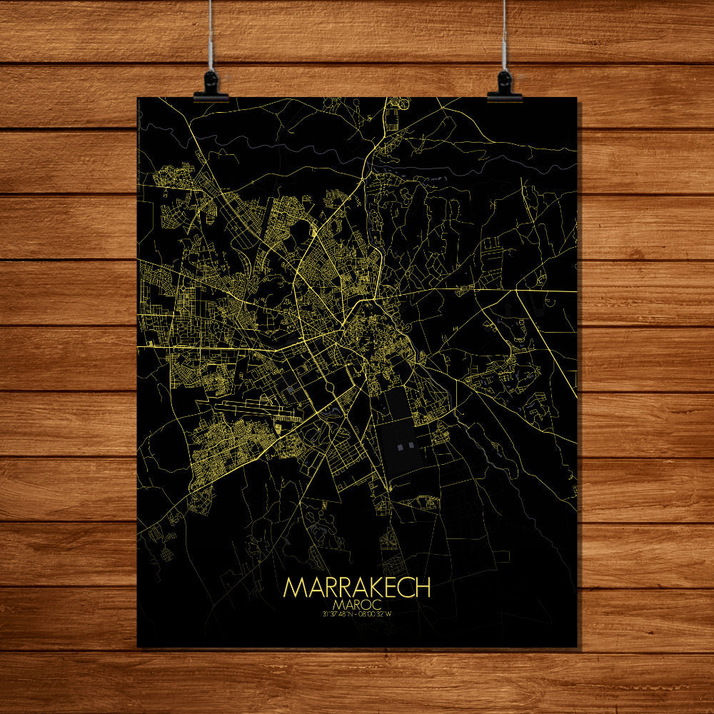 Mapospheres Marrakesh Night full page design poster city map