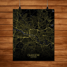Load image into Gallery viewer, Mapospheres Glasgow Night full page design poster city map
