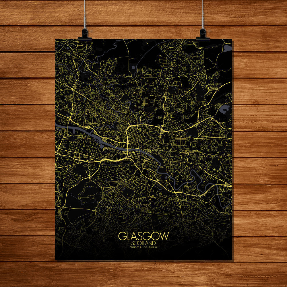 Mapospheres Glasgow Night full page design poster city map