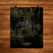Load image into Gallery viewer, Mapospheres Canberra Night full page design poster city map
